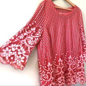 Isaac Mizrahi coral crochet blouse
